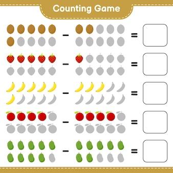Contando o jogo, conte o número de frutas e escreva o resultado. jogo educativo para crianças, planilha para impressão