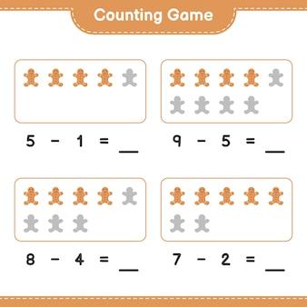 Contando o jogo, conte o número de gingerbread man e escreva o resultado