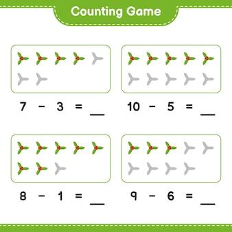 Contando o jogo, conte o número de holly berries e escreva o resultado