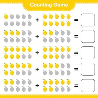 Contando o jogo, conte o número de limão e escreva o resultado.