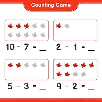 Contando o jogo, conte o número de maple leaf e escreva o resultado. jogo educativo para crianças, planilha para impressão