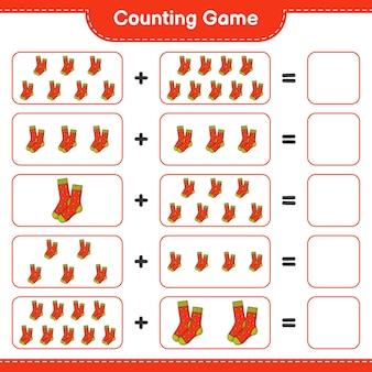 Contando o jogo, conte o número de meias e escreva o resultado. jogo educativo para crianças, planilha para impressão, ilustração