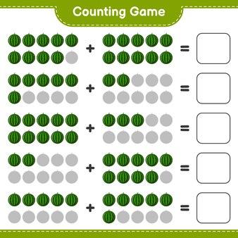 Contando o jogo, conte o número de melancia e escreva o resultado.