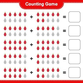 Contando o jogo, conte o número de pitaya e escreva o resultado.
