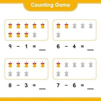 Contando o jogo, conte o número de sinos de natal dourados e escreva o resultado