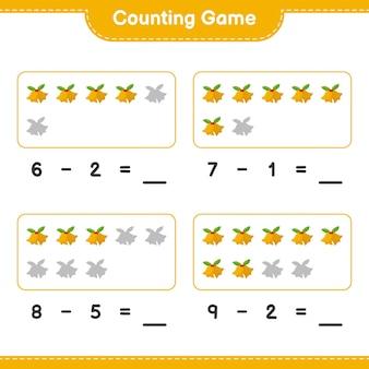 Contando o jogo, conte o número de sinos de natal e escreva o resultado