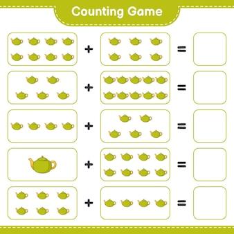 Contando o jogo, conte o número de tea pot e escreva o resultado. jogo educativo para crianças, planilha para impressão, ilustração
