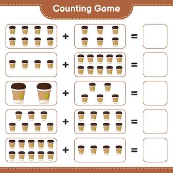 Contando o jogo, conte o número de xícaras de chá e escreva o resultado. jogo educativo para crianças, planilha para impressão, ilustração