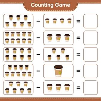 Contando o jogo, conte o número de xícaras de chá e escreva o resultado. jogo educativo para crianças, planilha para impressão
