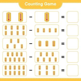 Contando o jogo, conte o número do termômetro e escreva o resultado. jogo educativo para crianças, planilha para impressão
