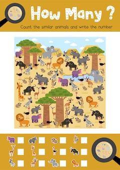 Contando o jogo de animais africanos