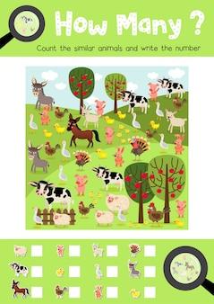 Contando o jogo de animais de fazenda