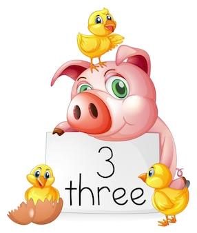 Contando o número três com porco e pintinhos