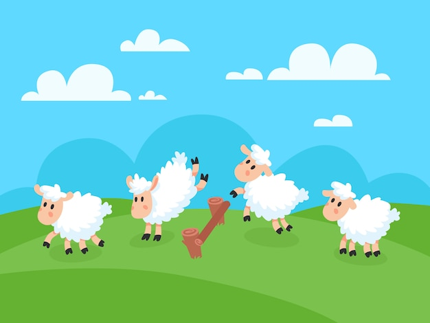 Contando pulando sheeps feliz dos desenhos animados para boa noite de sono.