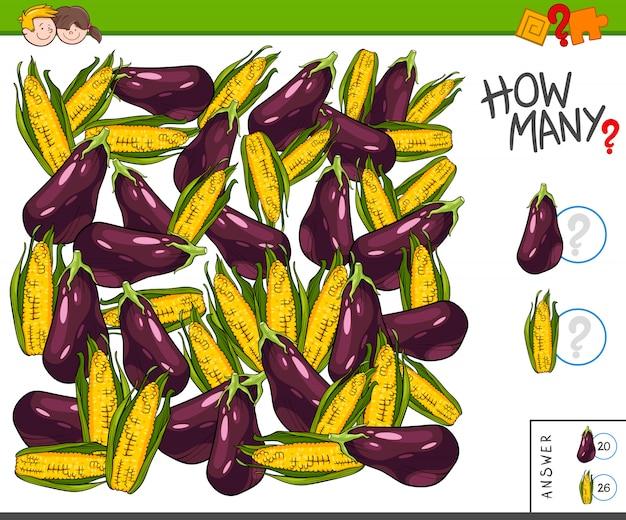 Contando tarefa para crianças com legumes