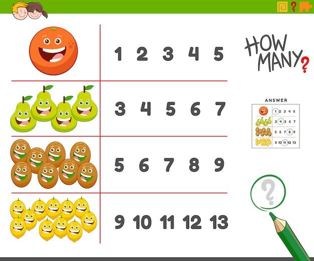 Contando tarefas com caracteres felizes de frutas