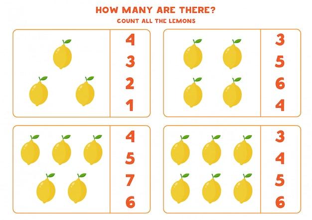 Contando todos os limões. jogo educativo de matemática para crianças.