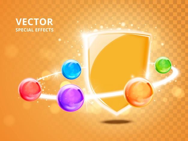 Contas coloridas conectadas por um anel de luz com um escudo brilhante