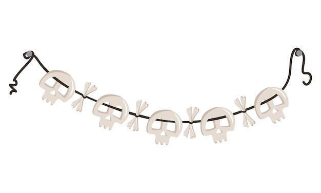 Contas de caveiras e ossos cruzados penduradas em uma corda, decoração de festa de halloween ou colar