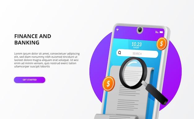 Contas de pagamento, verificação de auditoria contábil com telefone 3d, dinheiro e lupa