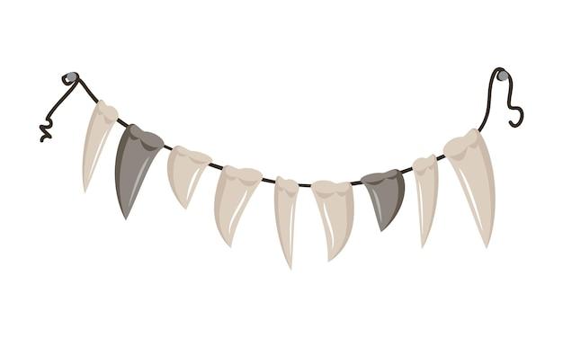 Contas de presas e dentes penduradas em uma corda, decoração ou colar de festa de halloween