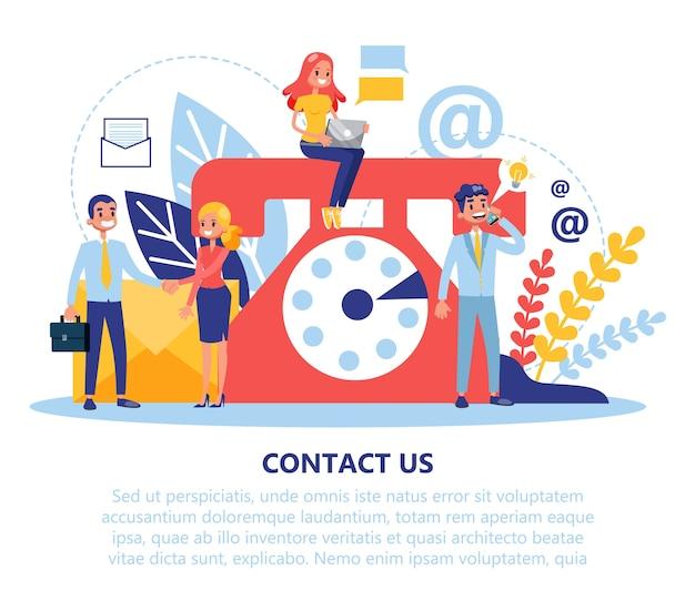 Contate-nos banner web. ideia de atendimento ao cliente