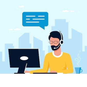 Contate-nos modelo de formulário. homem caucasiano com fones de ouvido e laptop. suporte, assistência, call center