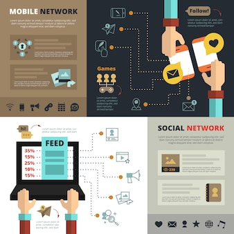 Contatos de redes sociais móveis alimentam composição plana de banners