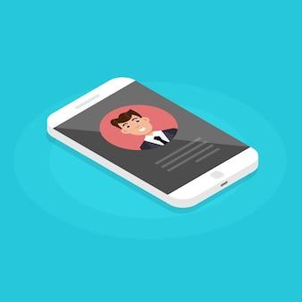 Contatos do usuário no smartphone. chamada recebida. ilustração vetorial