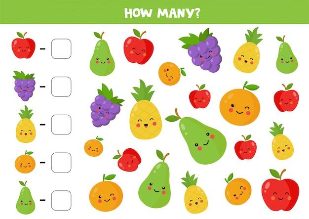 Conte a quantidade de frutas kawaii fofas e escreva a resposta.