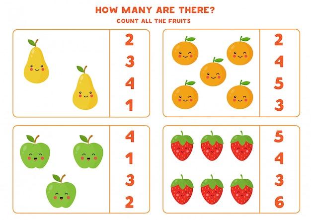 Conte a quantidade de frutas kawaii fofas.
