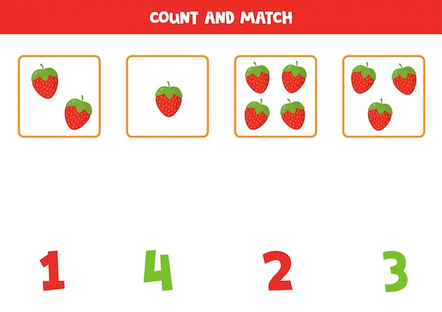 Conte a quantidade de morangos dos desenhos animados e combine com os números certos. jogo de matemática educacional para crianças. aprendendo a planilha imprimível de números.