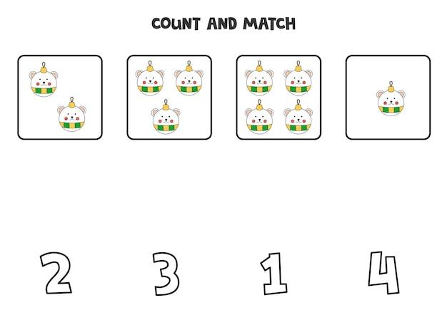 Conte as bolas de natal e combine com os números corretos. jogo de matemática para crianças.