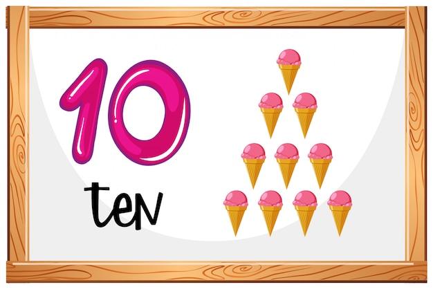 Conte até 10 conceito de sorvete