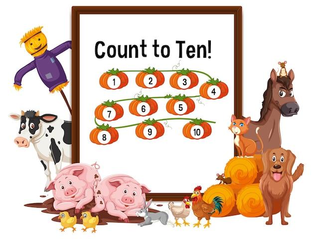 Conte até dez tabuleiro com animais de fazenda