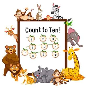 Conte até dez tabuleiro com animais selvagens