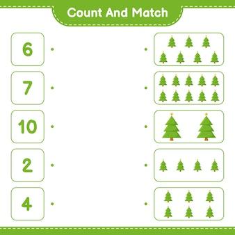 Conte e combine, conte o número da árvore de natal e combine com os números certos. jogo educativo infantil