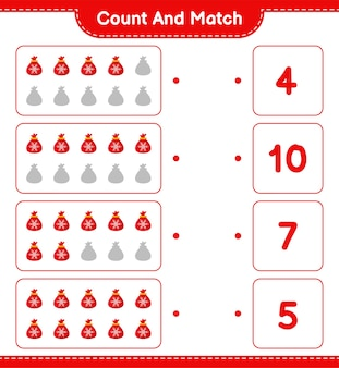 Conte e combine, conte o número da bolsa do papai noel e combine com os números certos. jogo educativo infantil