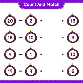 Conte e combine, conte o número da fig e combine com os números certos. jogo educativo para crianças, planilha para impressão