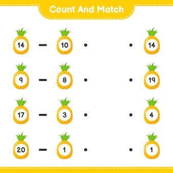 Conte e combine, conte o número de abacaxi e combine com os números certos. jogo educativo para crianças, planilha para impressão