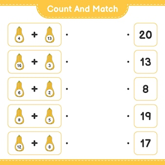 Conte e combine, conte o número de abóbora butternut e combine com os números certos
