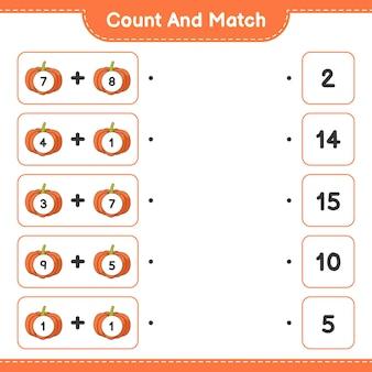 Conte e combine, conte o número de abóbora e combine com os números certos