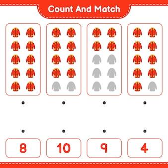 Conte e combine, conte o número de agasalhos e combine com os números certos