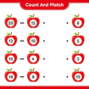 Conte e combine, conte o número de apple e combine com os números certos. jogo educativo para crianças, planilha para impressão