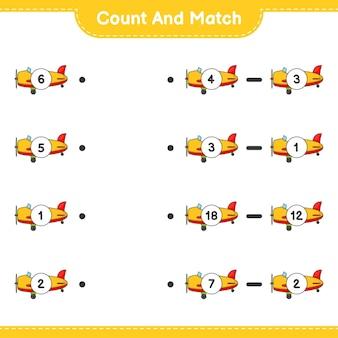 Conte e combine, conte o número de aviões e combine com os números certos. jogo educativo para crianças, planilha para impressão