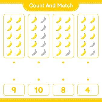 Conte e combine, conte o número de banana e combine com os números certos. jogo educativo para crianças, planilha para impressão