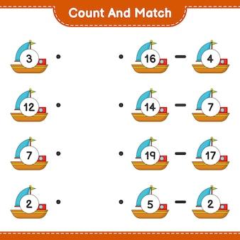 Conte e combine, conte o número de barcos e combine com os números certos. jogo educativo para crianças, planilha para impressão