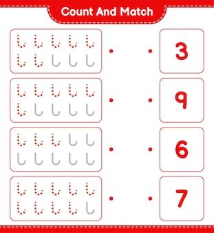 Conte e combine, conte o número de bastões de doces e combine com os números certos. jogo educativo infantil