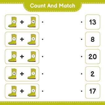 Conte e combine, conte o número de botas de borracha e combine com os números certos