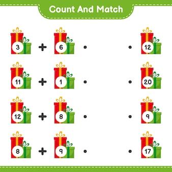 Conte e combine, conte o número de caixas de presente e combine com os números certos. jogo educativo infantil